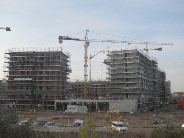 Cantiere progetto del nuovo complesso residenziale in social housing a Merezzate, Milano