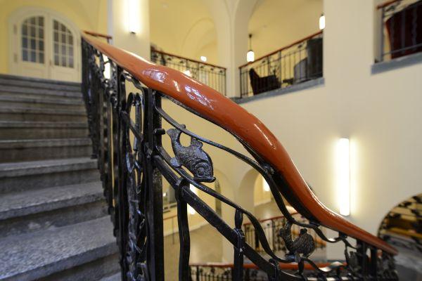 Dettaglio della struttura originaria dell'Hotel Oderberger a Berlino