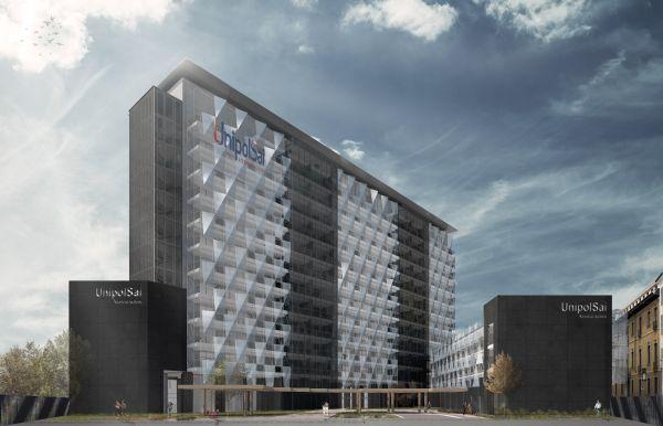 Facciata del complesso UnipolSai di Milano,cucita sull'edificio come un prezioso tessuto di vetro