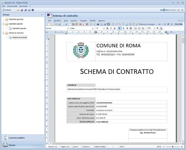 Schermata del documento finale