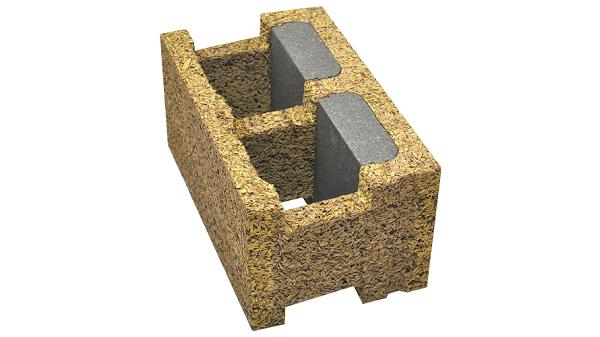 Blocco cassero in legno-cemento