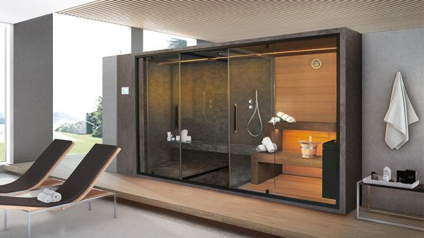 Ethos G del Gruppo Geromin, bagno turco + spazio doccia + sauna