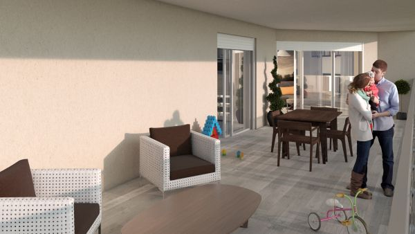 Rendering terrazza d un appartamento dell'EcoVillaggio Lops di Buccinasco