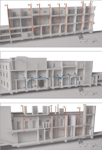 Spaccato tridimensionale di Palazzo Gulinelli di Ferrara