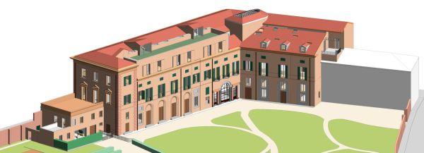 Modello tridimensionale dell'intero Palazzo Gulinelli – crediti Binario Lab