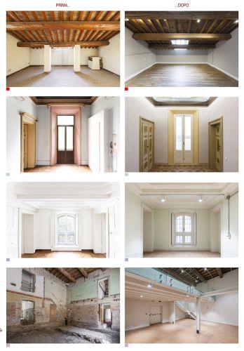 Palazzo Gulinelli prima e dopo i lavori di riqualificazione