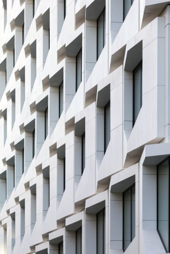 design angolare tridimensionale per i pannelli della facciata del nuovo Flare a Francoforte