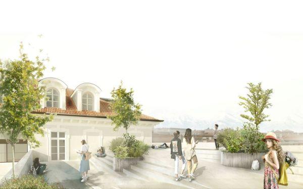 Torino fa scuola, il terrazzo coperto della nuova scuola Giovanni Pascoli
