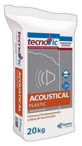 Gyproc Acoustical Plastic è un intonaco premiscelato fonoassorbente del marchio Gyproc Saint-Gobain
