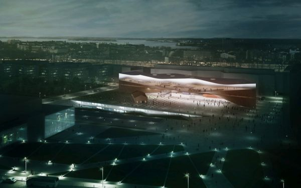 Vista notturna della Nuova biblioteca Ood a Helsinki