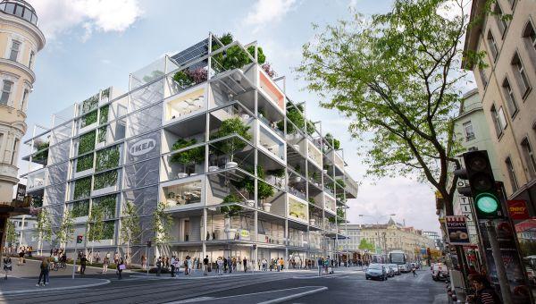 Render dello store Ikea su Mariahilferstrasse a Vienna