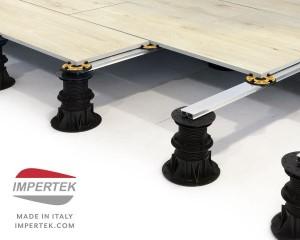 Sistema Impertek per pavimenti sopraelevati misti ceramica e legno