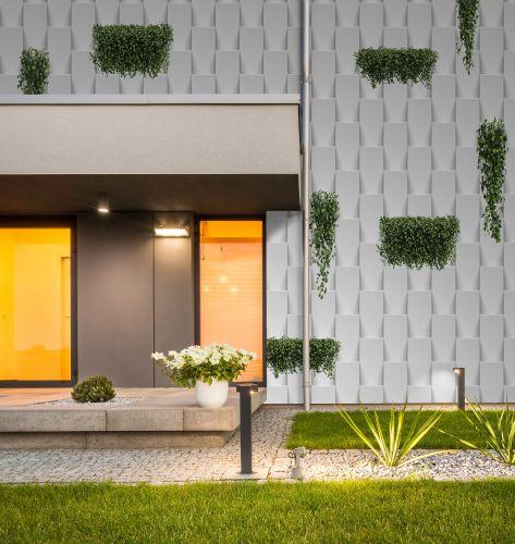 La carta da parati per esterno di Instabilelab, The vertical Garden, simulazione di un giardino verticale