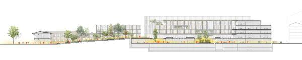 Sezione longitudinale del progetto per la riqualificazione della caserma Amione di Torino