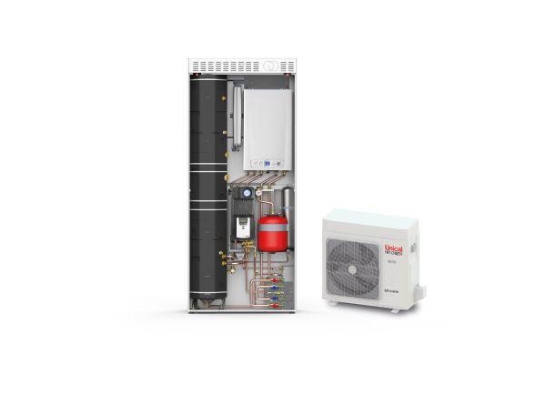 KONs HP , sistema integrato di Unical per impianti di riscaldamento/raffrescamento ambiente e produzione A.C.S