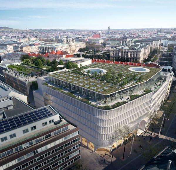 Render del KaDeWe a Vienna visto dall'alto con il verde sul tetto