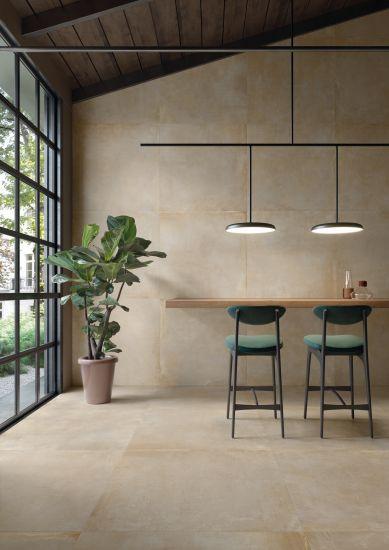 Ambienti minimal ed eleganti con la collezione in gres Noord di ceramiche Keope