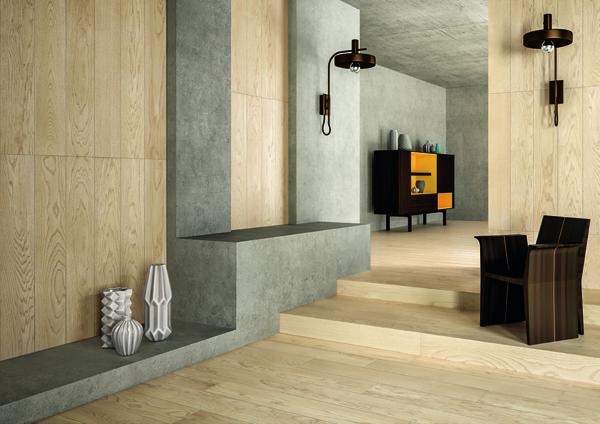 Logos Ivory posato in interni su superfici orizzontali e verticali