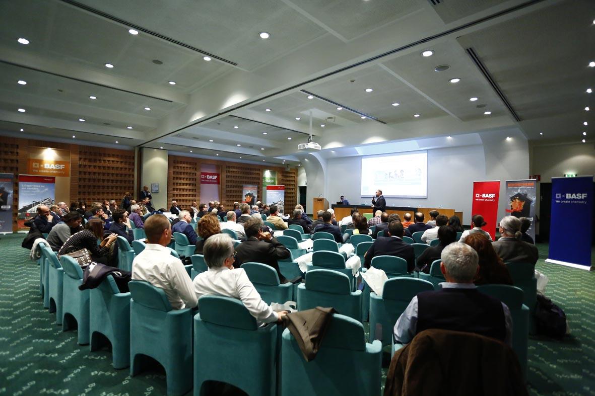 L'auditorium della sede di BASF a Cesano Maderno, dove si è tenuta la presentazione.