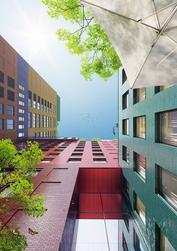Progetto Radio Tower hotel che comprende tante strutture squadrate coloratissime