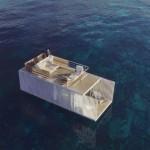 La camera d'albergo galleggiante, lussuosa e sostenibile