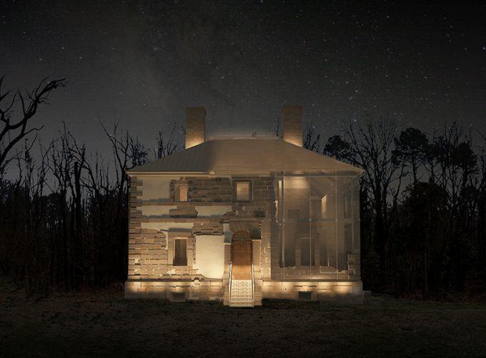 Menokin House: proteggere monumenti storici con il vetro. vista serale