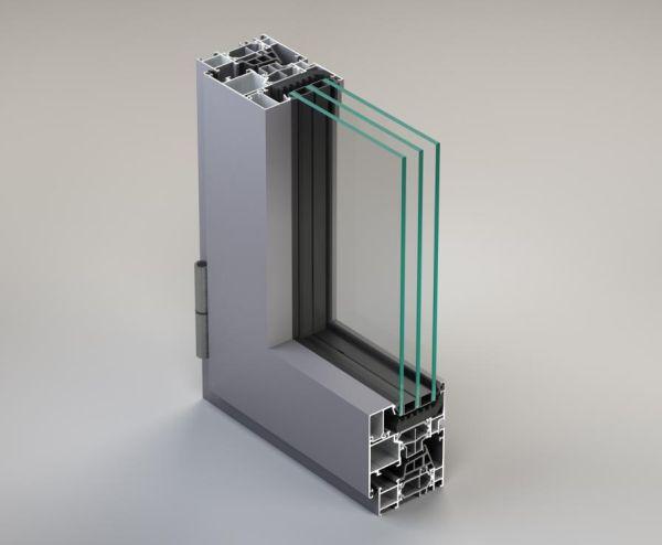 La finestra a battente in alluminio METRA NC 65 STH HES