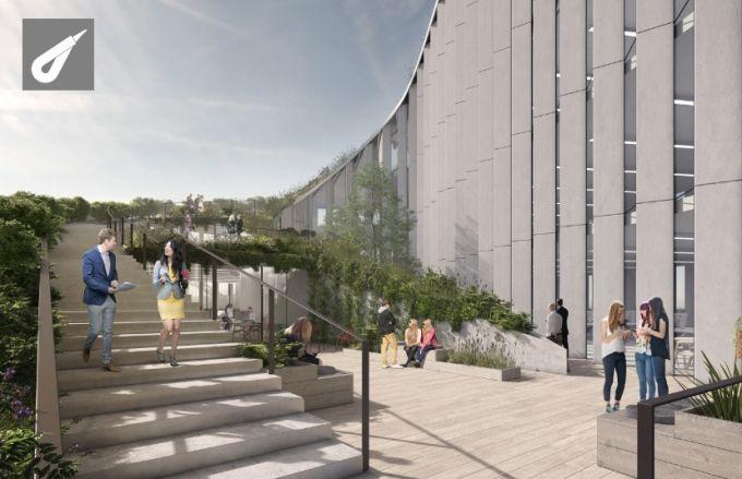 La scalinata che porta alle terrazze dell'edificio No.1 Quayside a Newcastle