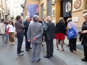 Claudio Sangiorgi, con Luciano Tellaroli e altri soci del Circolo Filologico