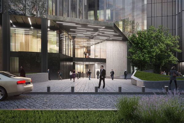 rendering ingresso del nuovo Pharo Business Center a Milano
