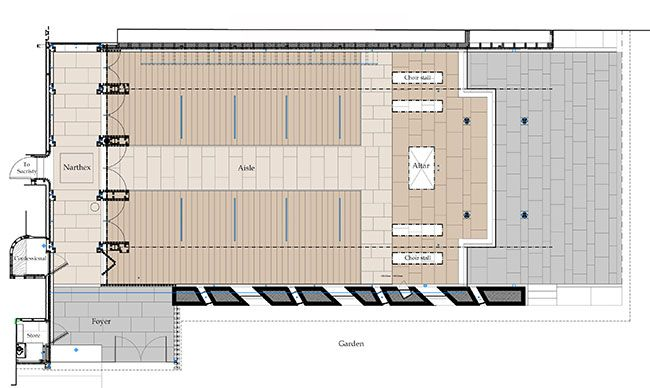 Pianta piano terra: Foyer, Nartece, cappella