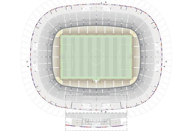 Planimetria ultimo livello dello stadio