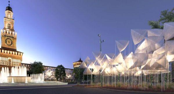 L'installazione dello studio Piuarch s'inserisce nella cornice di Piazza Castello