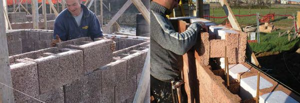 Posa a secco dei blocchi in legno cemento