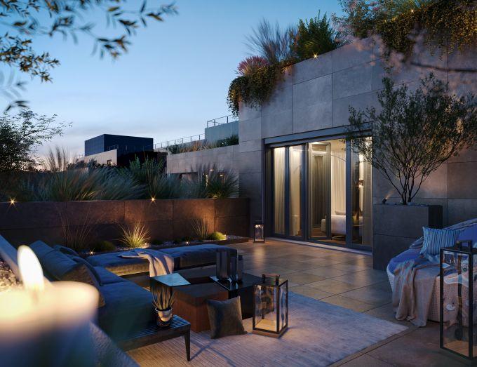 Una delle terrazze del progetto immobiliare Princype