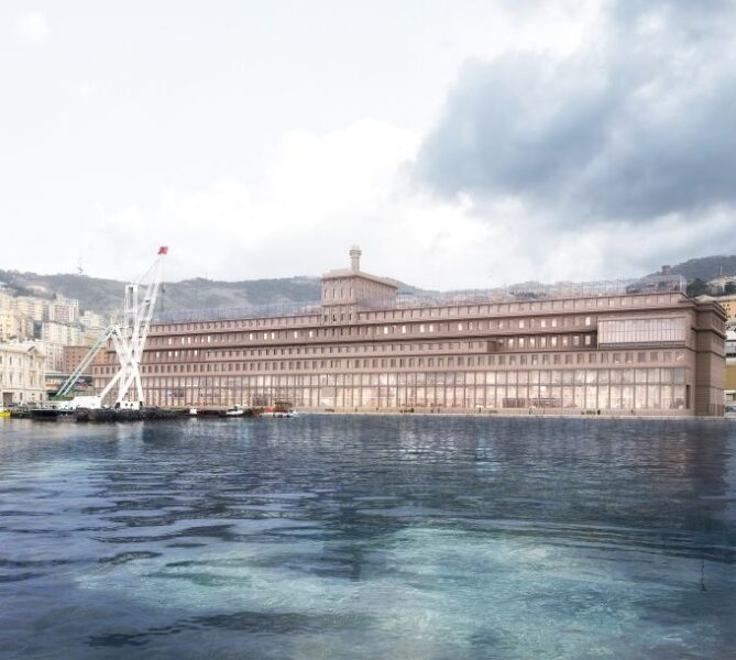 Render dell'ex silos granaio Hennebique a Genova