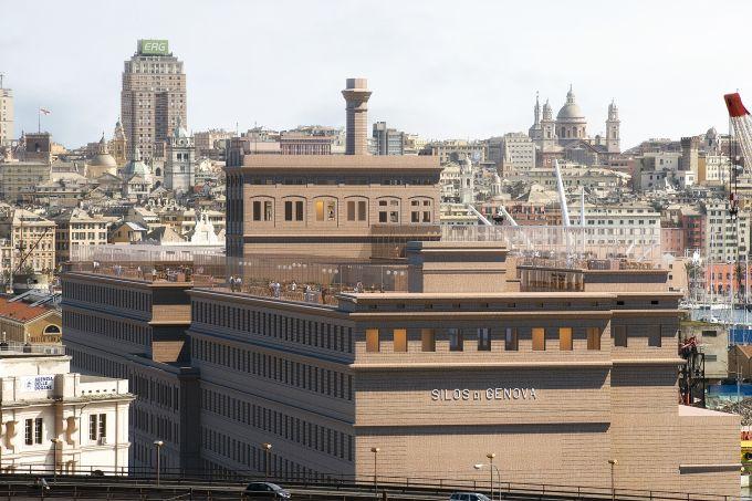 L'edificio Hennebique e sullo sfondo la città di Genova