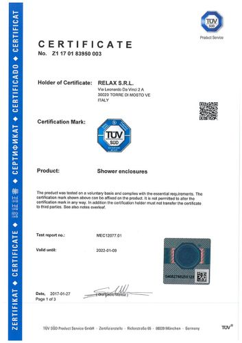 Cabine doccia Relax: certificato internazionale TÜV-Sud