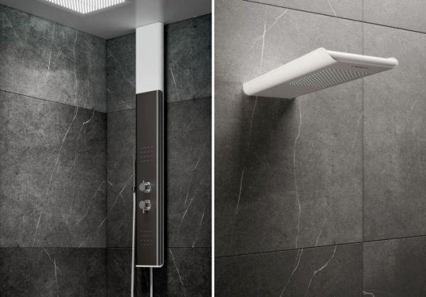 Box doccia Bobox di Relax, i soffioni Byblos T a sinistra e Byblos S a destra
