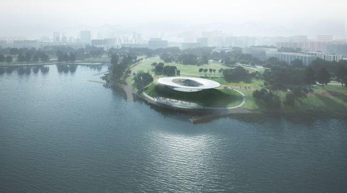 Il Roadshow Center sul lago Xinglong a forma di astronave