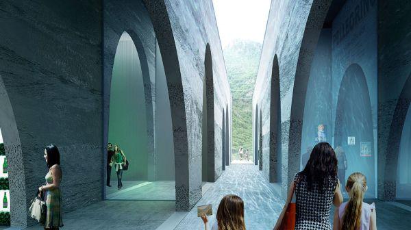 Le arcate e i tunnel che caratterizzano la nuova fabbrica SanPellegrino
