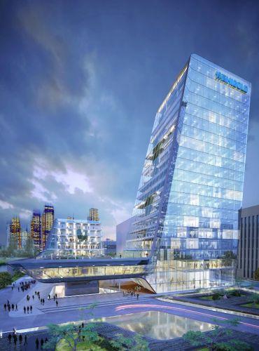 sede di Higold Pininfarina Architects si caratterizza per le ampie zone verdi