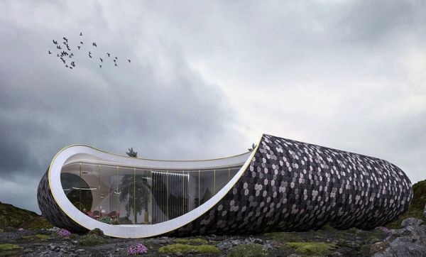 Seashell Home: la casa futuristica ispirata alle conchiglie rivestita in legno riciclato