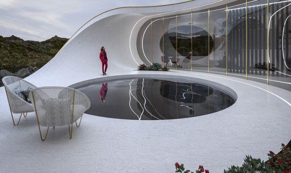 Seashell Home: la piscina circolare nel patio esterno