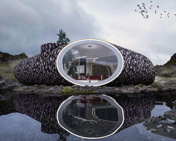 Seashell Home: vista frontale e ampie vetrate