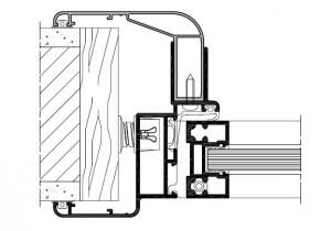 Sezione-Linea vetrata con cardini a scomparsa