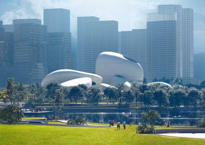 Shenzhen bay culture park, contrasto antico e futuro