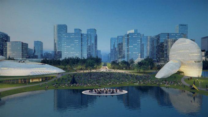 Shenzhen bay culture park, il lago a specchio