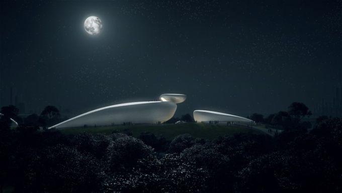 Shenzhen bay culture parky, vista notturna
