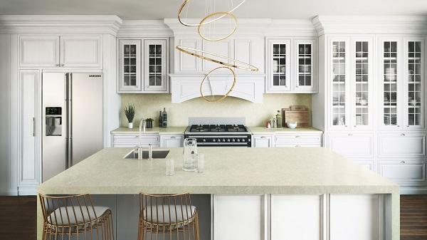 Superfici effetto marmo nella tonalità Silken Pearl